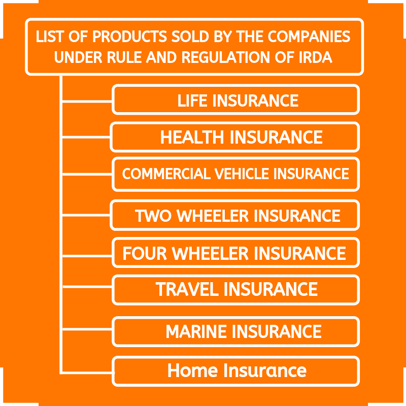 List of products sold by the companies under rule and regulations of IRDA